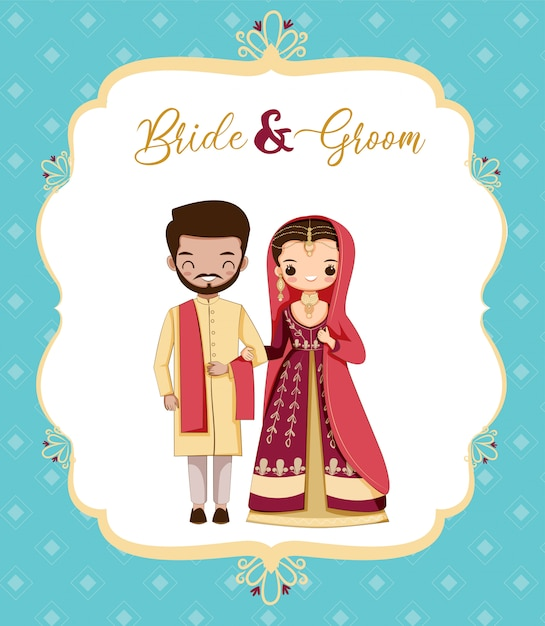 Cute dibujos animados de novios de pakistán Vector Premium