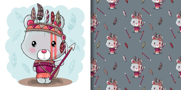 Cute dibujos animados oso de peluche tribal con plumas, patrones sin fisuras Vector Premium