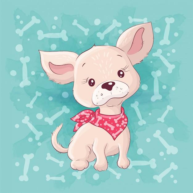 Cute dibujos animados perrito, perrito. dibujo a mano Vector Premium