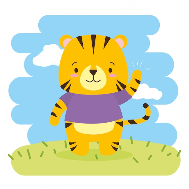 Cute dibujos animados de tigre, ilustración vector gratuito