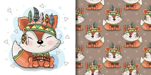 Cute dibujos animados tribal fox con plumas, patrones sin fisuras Vector Premium
