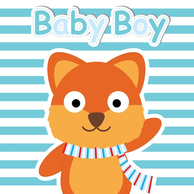 e4f779fb31519 Cute fox sobre fondo de rayas azules vector de dibujos animados ...