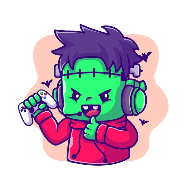 Cute frankenstein zombie gaming y thumbs up cartoon illustration. concepto de icono de juegos de halloween Vector Premium