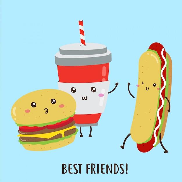 Cute happy deliciosas hamburguesas, hot dog, bebidas diseño vectorial Vector Premium