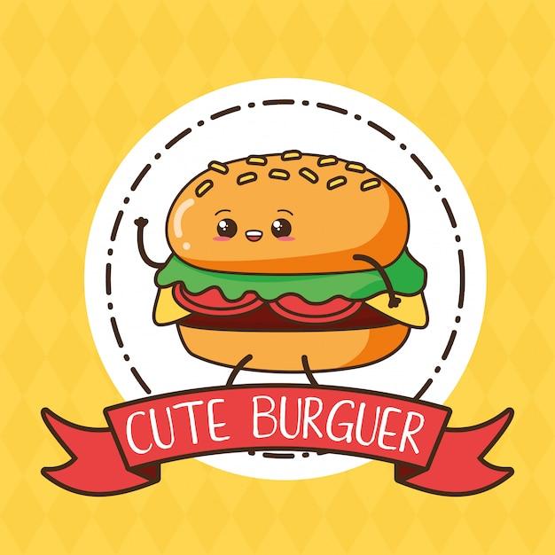 Cute kawaii burger en etiqueta, diseño de alimentos, ilustración vector gratuito