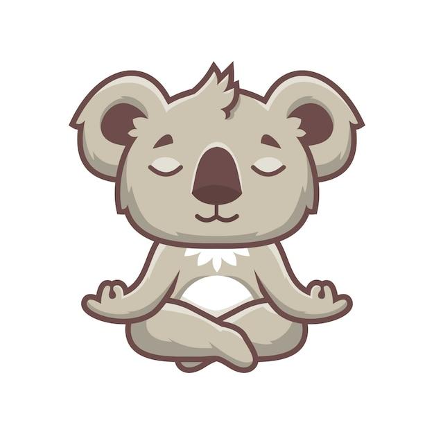 Cute koala yoga mascot design   Descargar Vectores Premium