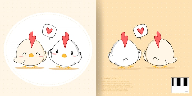 Cute little chicken lover pareja de dibujos animados doodle front and back cover para notebook Vector Premium
