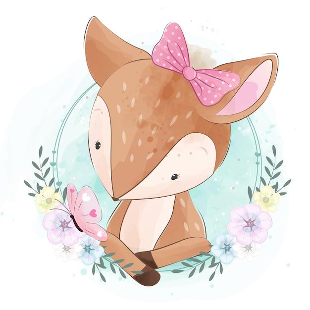 Cute little dear con flor Vector Premium