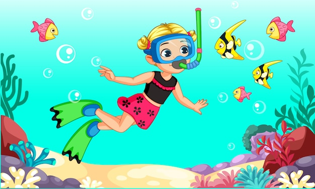 Cute little girl diver dibujos animados Vector Premium