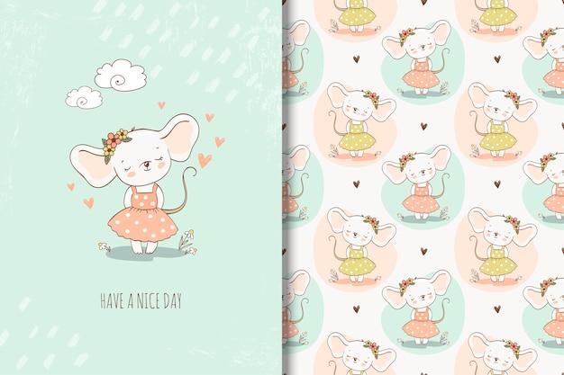 Cute little girl mouse en la ilustración de estilo dibujado a mano. fondo y tarjeta de repetición de niña Vector Premium