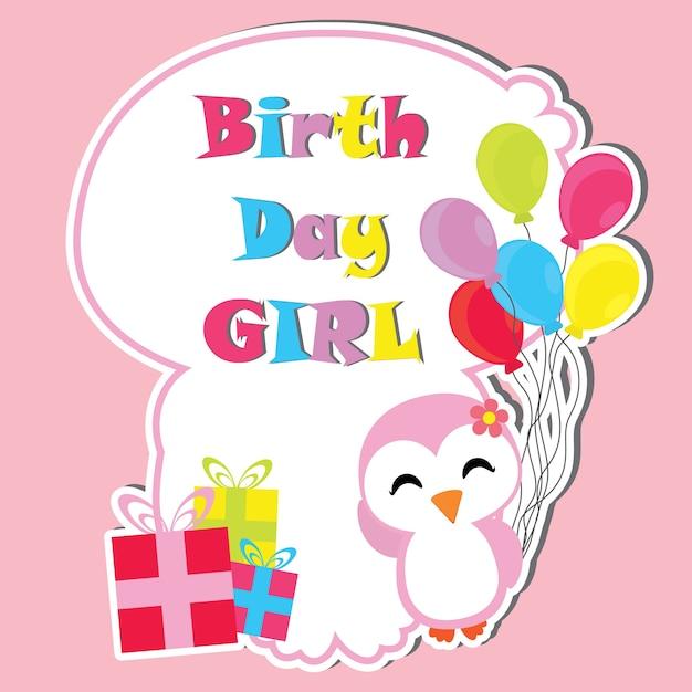 Cute pingüino niña con regalos de cumpleaños y globos marco vector ...