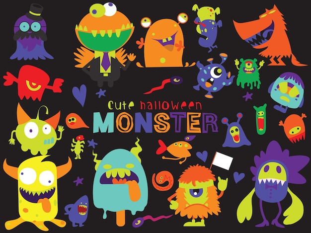 Cute scary halloween monsters y dulces Vector Premium