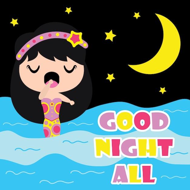 Cute Sirena Esta Sonoliento En La Noche De Dibujos Animados De