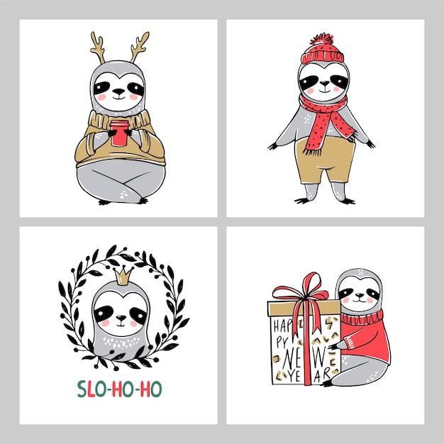 Cute sloth, colección de tarjetas de feliz navidad. ilustraciones divertidas para las vacaciones de invierno. doodle osos perezosos perezosos e inscripciones de letras. feliz año nuevo y navidad conjunto de animales. Vector Premium