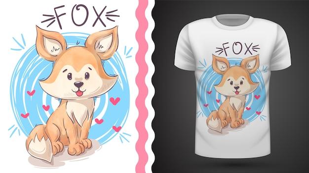Cute teddy fox - idea para camiseta estampada Vector Premium