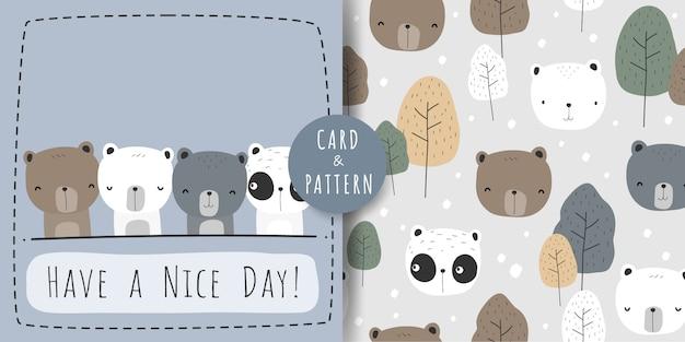 Cute teddy polar panda bear cartoon doodle seamless pattern and card bundle Vector Premium