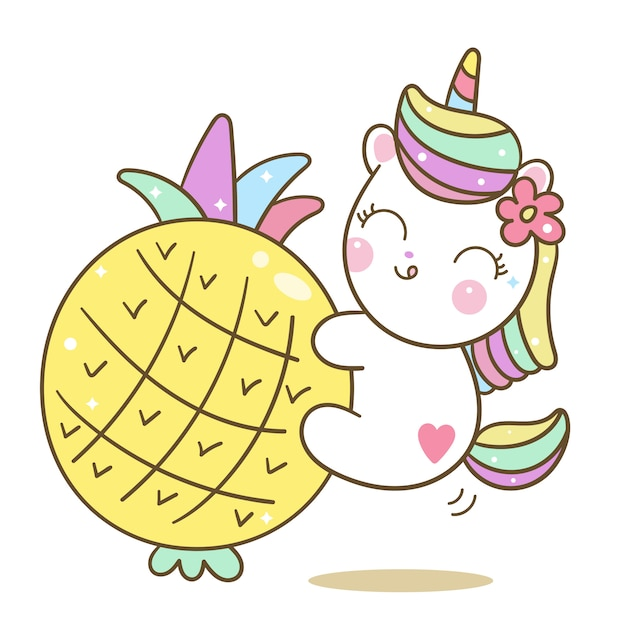 Cute unicorn vector love piña de dibujos animados Vector Premium