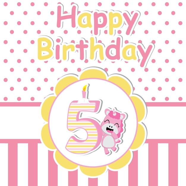 Cute unicornio con velas en la flor de dibujos animados vector de ...