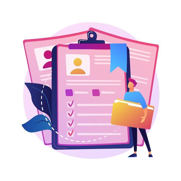 Cv de empleados, cv de candidatos. trabajadores corporativos, id de estudiantes aislar elemento de diseño plano. solicitudes de empleo, avatares, información personal. vector gratuito