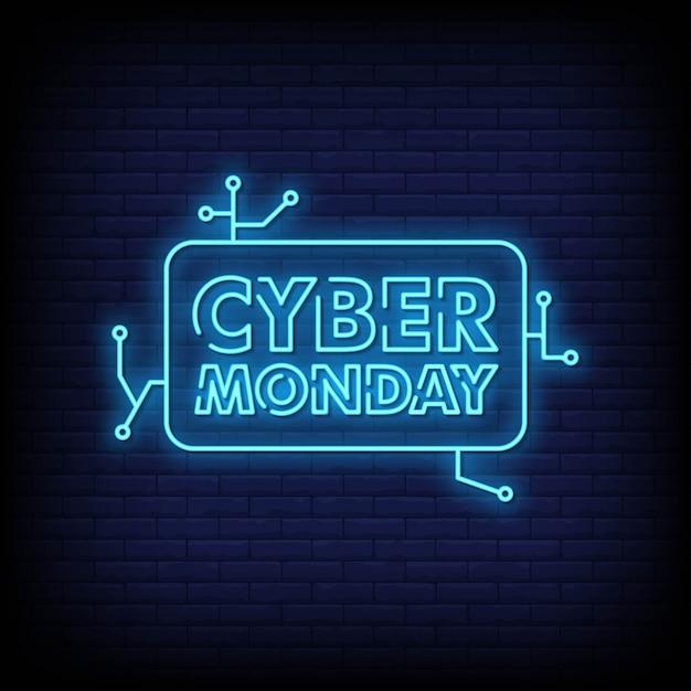 Cyber monday banner neon sign estilo vector texto Vector Premium