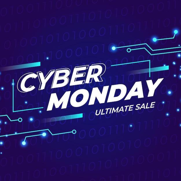 Cyber monday en diseño plano vector gratuito