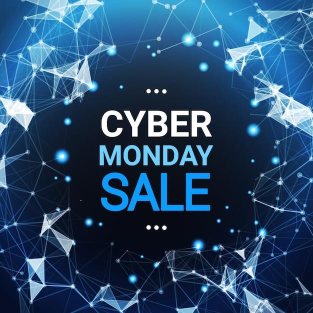 Cyber monday sale poster design sobre azul líneas futuristas fondo tecnología icono de compra Vector Premium