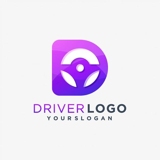 D driver logo drive car Vector Premium