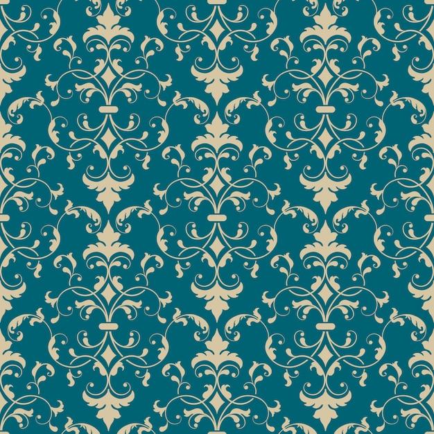 Damasco elemento patrón transparente. adorno de damasco antiguo de lujo clásico vector gratuito