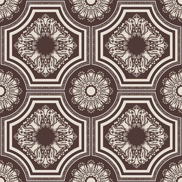 Damasco de fondo sin fisuras patrón adorno de damasco antiguo de lujo clásico vector gratuito