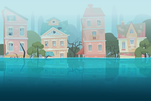 Dañado por casas de inundaciones de desastres naturales y árboles parcialmente sumergidos en el agua en el concepto de ciudad de dibujos animados. Vector Premium