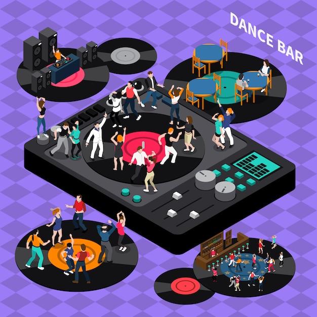 Dance club bar composición isométrica cartel vector gratuito