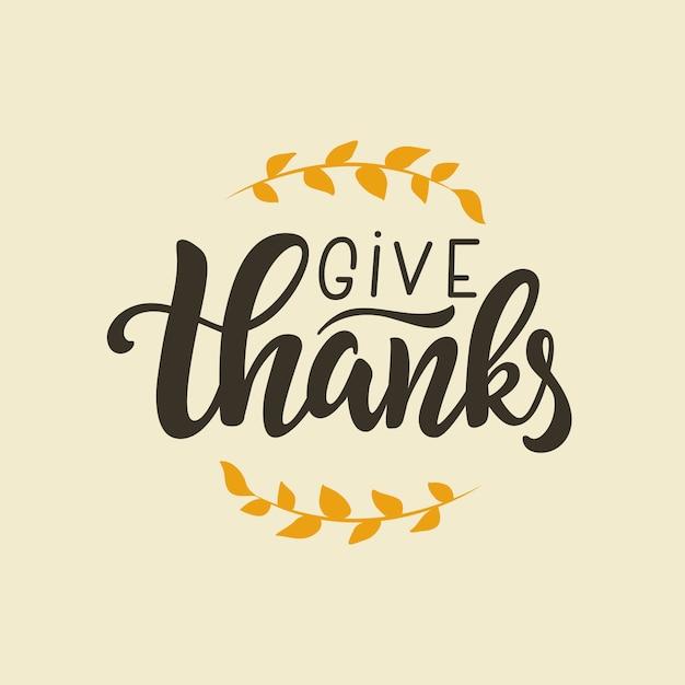 Dar cotización de letras de agradecimiento, plantilla de tarjeta de felicitación escrita a mano para el día de acción de gracias. Vector Premium