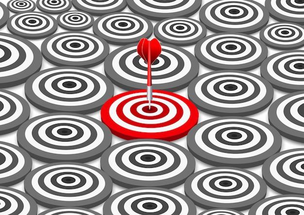 Dardos rojos diana concepto de éxito del negocio. ilustración de idea creativa aislada Vector Premium