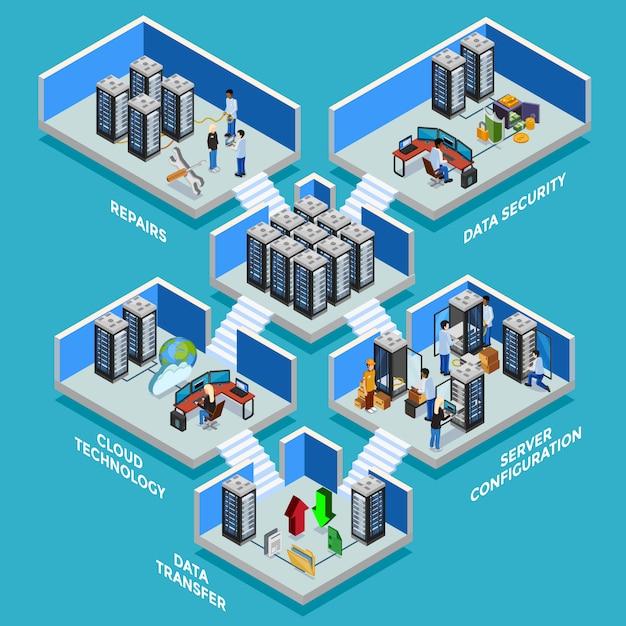 Datacenter isometric illustration vector gratuito