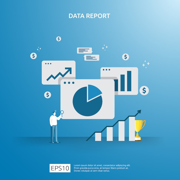 Datos gráficos digitales para análisis seo y estratégicos con carácter. información estadística, documento de informe de auditoría financiera, investigación de mercados para el concepto de gestión empresarial. Vector Premium
