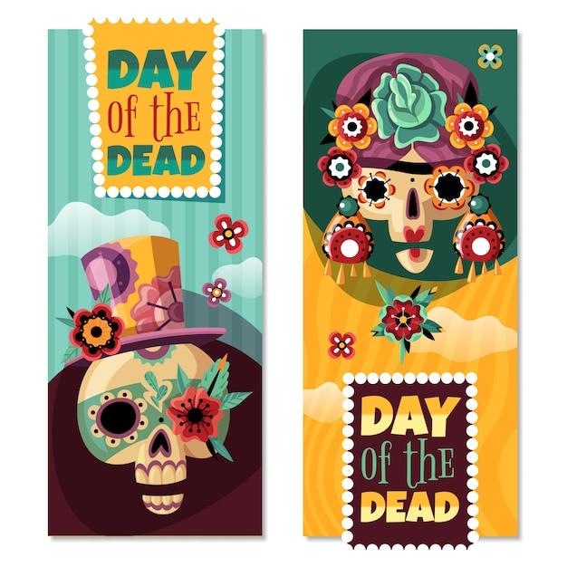 Dead day 2 coloridas pancartas verticales decorativas con divertidos adornos con scull de flores vector gratuito