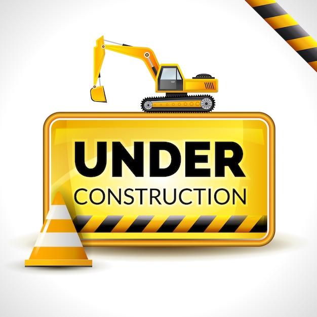Debajo del cartel de construcción vector gratuito