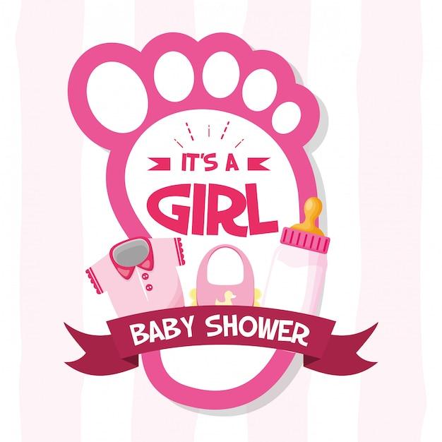 Decoración para baby shower card vector gratuito