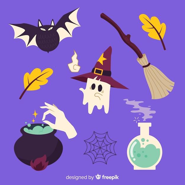 Decoración de brujas para la colección de halloween vector gratuito