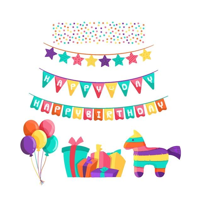 Decoración colorida de cumpleaños vector gratuito