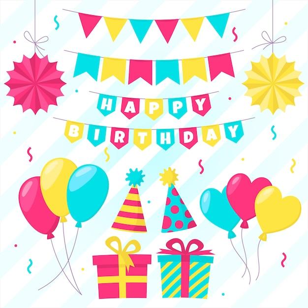 Decoración de cumpleaños y cajas de regalo para fiestas vector gratuito