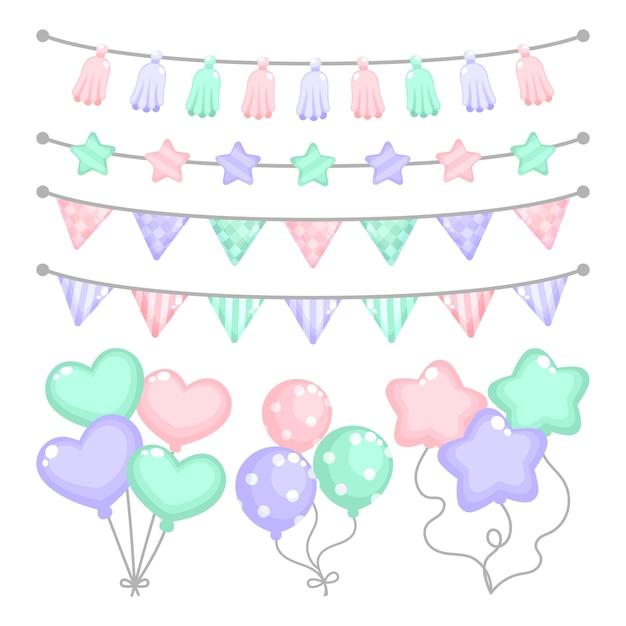 Decoración de cumpleaños con globos en forma de corazón vector gratuito