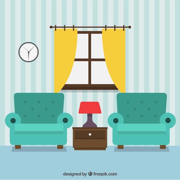 Decoraci n de la sala de estar descargar vectores gratis for Sala de estar dibujo