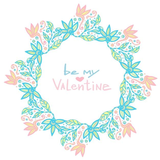 Decoración del día de san valentín. lindo marco floral en vector ...