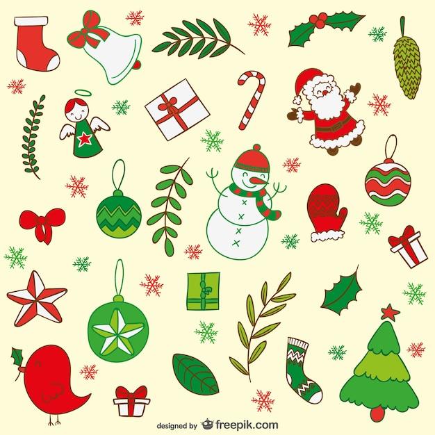 Decoración De Dibujos Animados De Navidad Vector Gratis