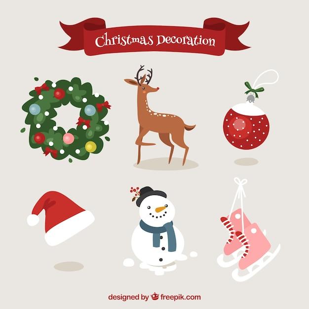 Decoracion De Elementos De Navidad Con Ciervo Y Muneco De Nieve - Ciervo-navidad