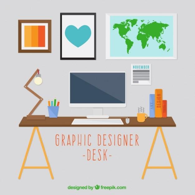 Decoraci n escritorio de dise ador gr fico descargar for Disenador de cocinas online gratis