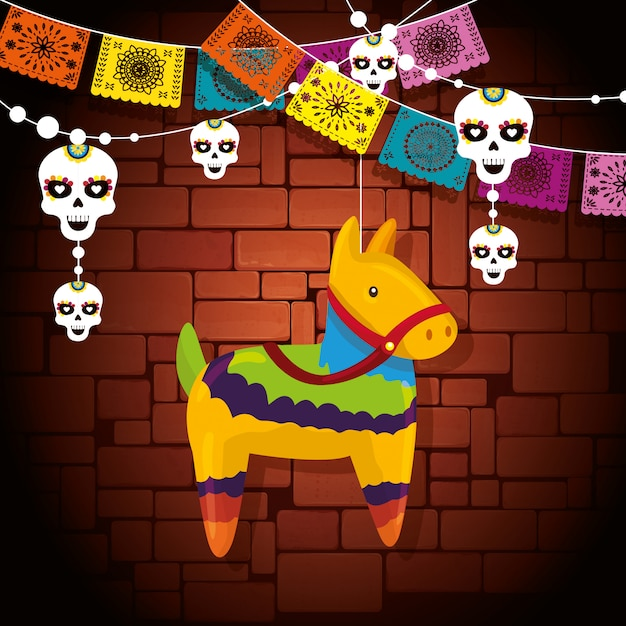 Decoración de eventos de burro con banner de fiesta de calavera vector gratuito