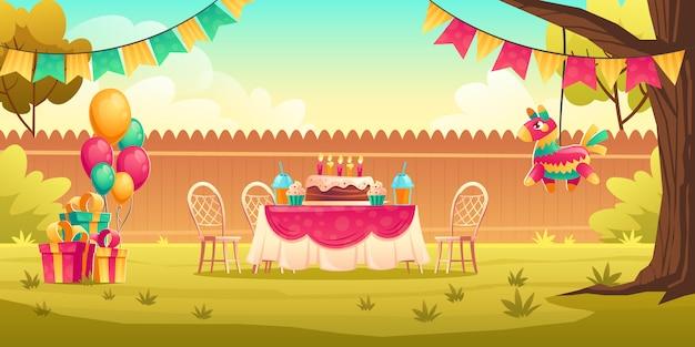Decoración de fiesta de cumpleaños para niños afuera vector gratuito
