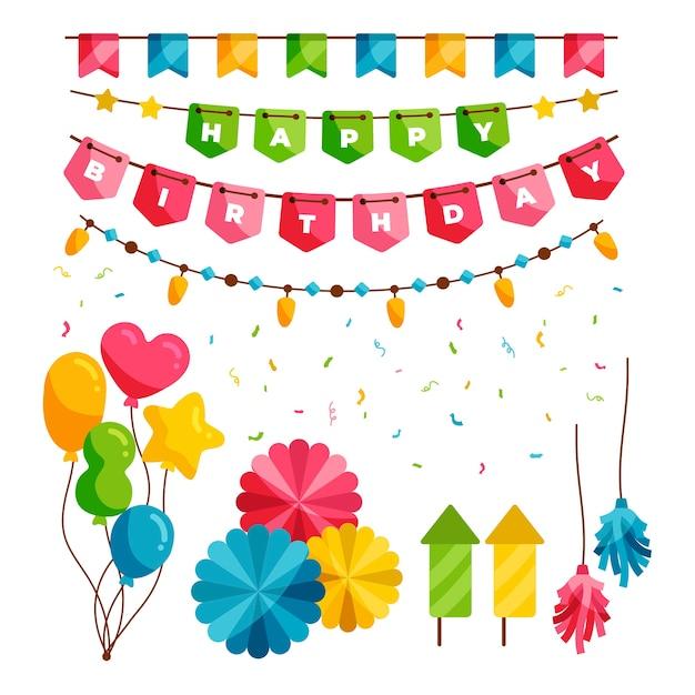 Decoración de fiesta de cumpleaños vector gratuito